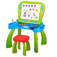 Ігровий Столик для малювання 2в1: Мольберт, осередки для зберігання, стільчик, магнітні букви і цифри, салатовий