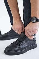 Мужские кеды кожаные летние черные Zangak 002 (р) чф перфорация, фото 3