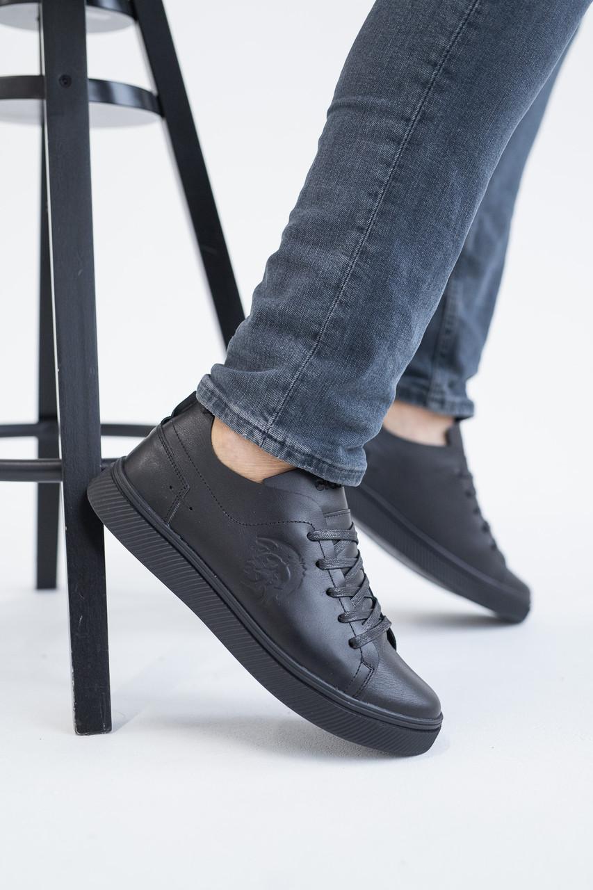 Мужские кеды кожаные весна/осень черные Emirro 88 Black Edition