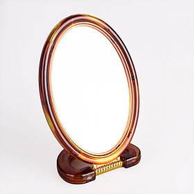 Зеркало настольное двухстороннее 15 х 10,5 см пластиковое коричневое Mirror 430-6