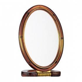 Зеркало настольное двухстороннее 12,2 х 8,3 см пластиковое коричневое Mirror 430-5