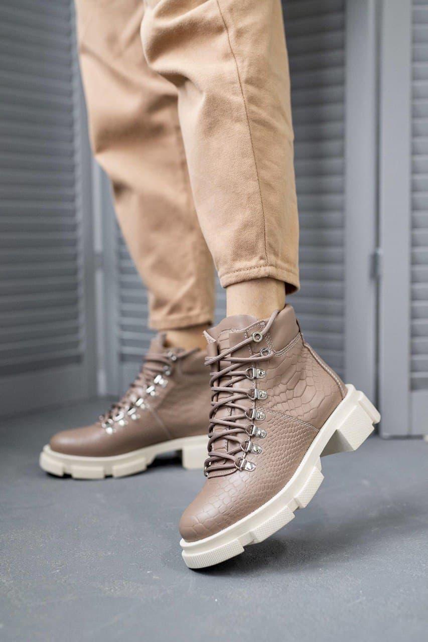 Женские ботинки кожаные весна/осень коричневые Vankristi 010 Байка