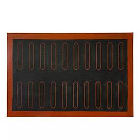 Черный перфорированный силиконовый коврик для выпечки эклеров 40*60 см