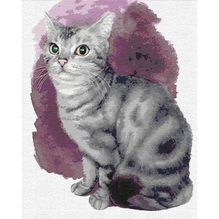 Картина малювання за номерами Маленьке кошеня, 40x50 див., Ідейка набір для розпису, фарби, кисті, полотно