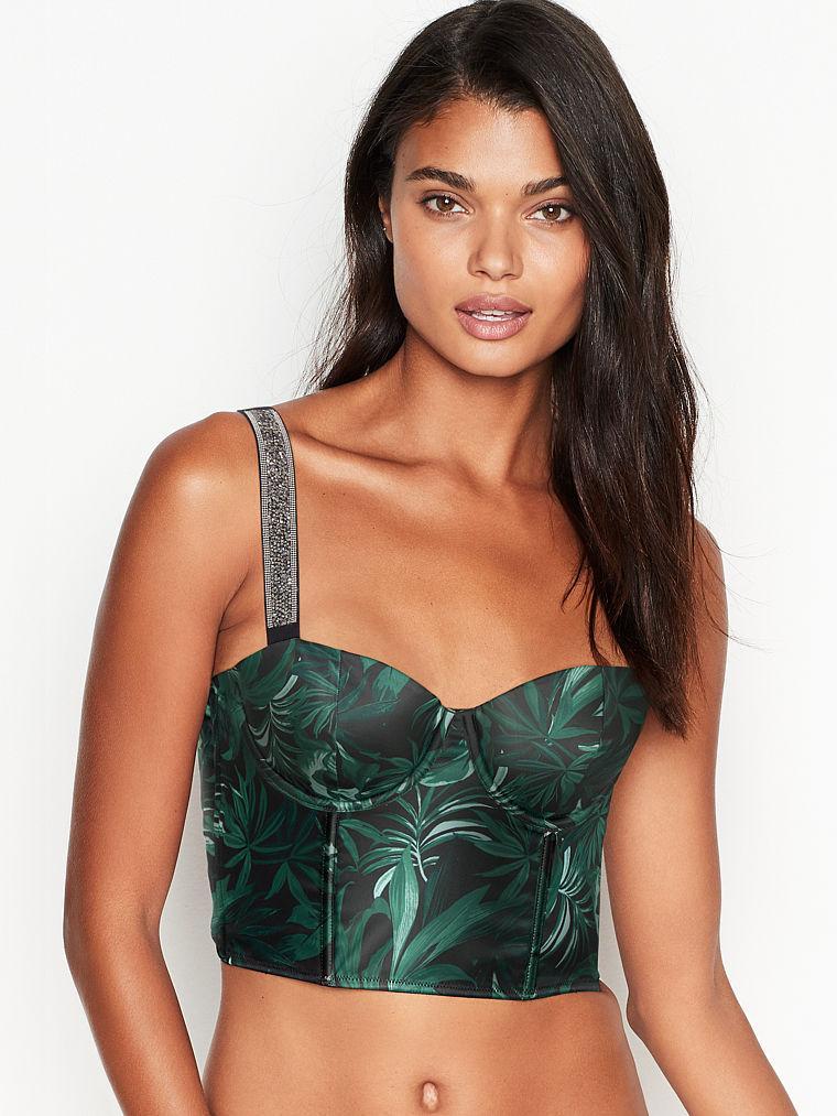 Сатинове бюстьє Victorias Secret art805878 (Чорний/Зелений, розмір 34B)