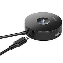 HUB адаптер Baseus Round Box USB3.0 to 1USB 3.0+3USB 2.0 CAHUB-F01 (Чорний), фото 2