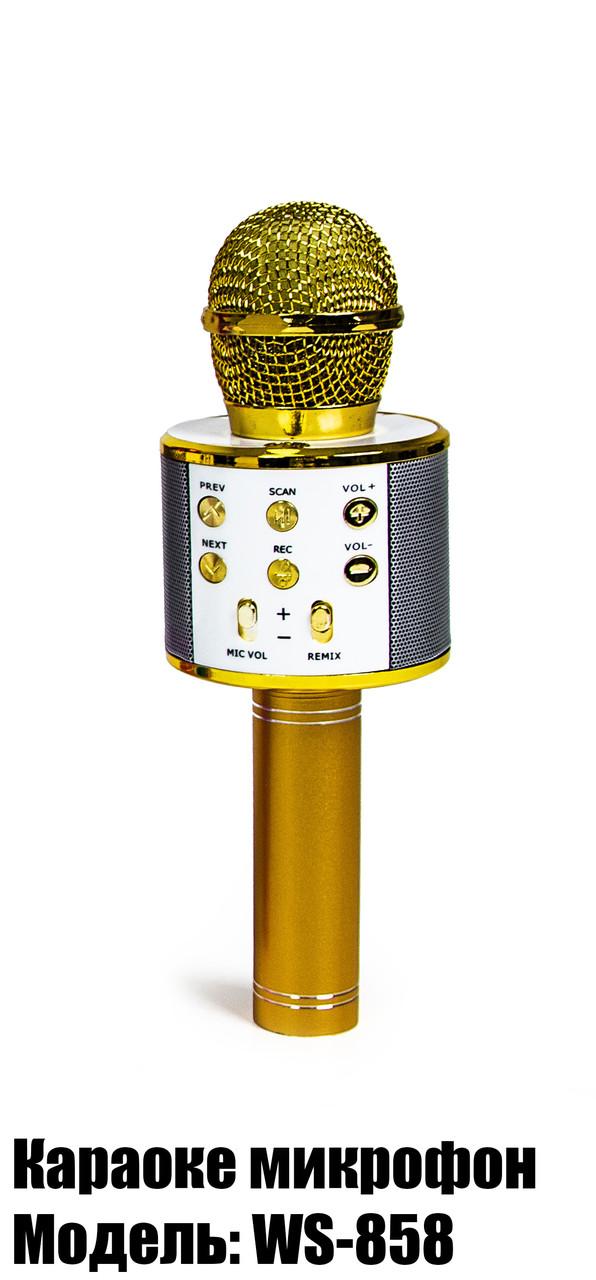 Бездротовий мікрофон-караоке WSTER WS-858. Золотий