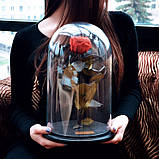 Подарок на 14 февраля роза в стеклянной колбе  32х22 см. (КРАСНАЯ), фото 3