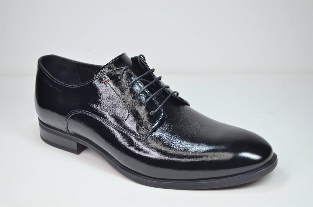 Мужские кожаные лаковые туфли черные IKOS 3800 - 6