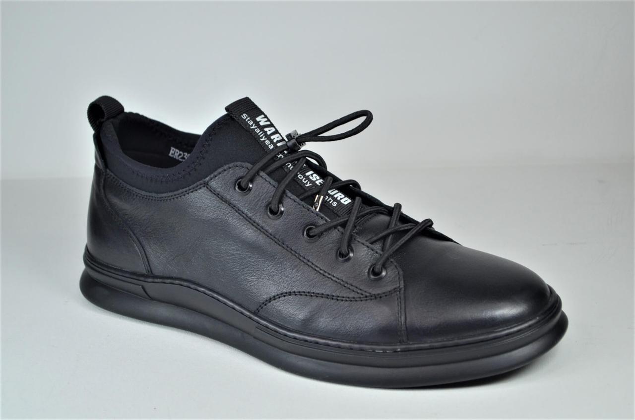 Мужские спортивные туфли кожаные кеды черные Rondo 239/44