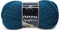 Пряжа Nako Spaghetti 2273 петроль (нитки для вязания Нако Спагетти) 25% Шерсть, 75% Премиум акрил