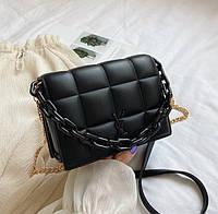 Модная маленькая женская сумочка клатч с цепочкой, черная мини сумка стеганная сумка-клатч женский