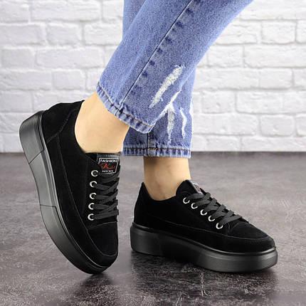 Жіночі замшеві кросівки Fashion Ruby 1689 39 розмір 24 см Чорний, фото 2