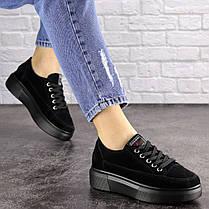 Жіночі замшеві кросівки Fashion Ruby 1689 39 розмір 24 см Чорний, фото 3