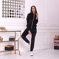 Женский спортивный велюровый костюм штаны и кофта с капюшоном чёрный 42-44 46-48 50-52 54-56