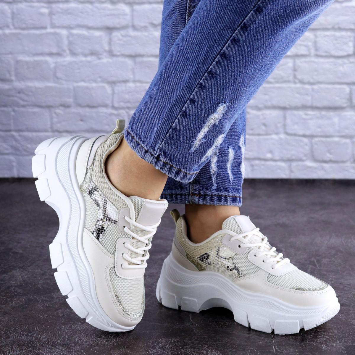 Женские кроссовки Fashion Braxton 1742 39 размер 24 см Бежевый