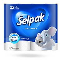 Туалетная бумага Selpak трехслойная белая 32 рулона
