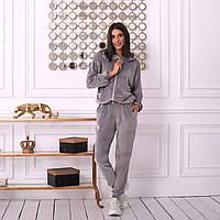 Женский спортивный велюровый костюм штаны и кофта с капюшоном серый 42-44 46-48 50-52 54-56