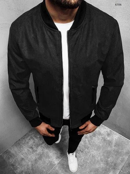 Бомбер мужской замшевый черного цвета. Куртка мужская замшевая демисезонная черная на молнии.