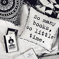 Подушка декоративная (мешковина) с помпонами So many books, so little time Arivans 45*45 см