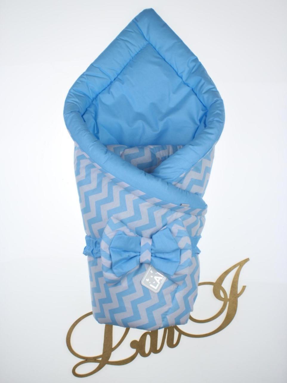 Конверт для новорожденного весна, осень Волна голубой