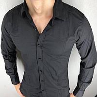 Чорна чоловіча сорочка з довгим рукавов S,M,L,XL,XXL Туреччина. Молодіжна турецька сорочка трансформер