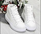 Белые высокие кроссовки, ботинки на байке, фото 3