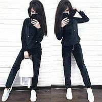 Женский спортивный велюровый костюм 3076 (42-44, 46-48, 50-52) (цвета: графит, черный, бордо) СП, фото 1