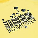 Красивый детский реглан для девочки удлиненный SmileTime I love you, лимонный, фото 3