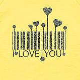Красивый детский реглан для девочки удлиненный SmileTime I love you, лимонный, фото 4