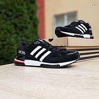 Мужские кроссовки Adidas ZX 750 (черные с красным) 10320 замшевые демисезонные повседневные спортивные кроссы