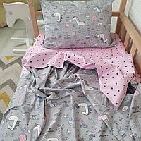 """Комплект дитячої постільної білизни від ТМ Сон-тра """"Єдинороги на сірому"""""""