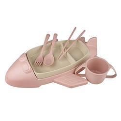 """Детская посуда набор Stenson R87745 """"Самолет"""",  из пшеничной шелухи, 6 предметов, розовый"""
