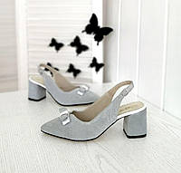 Жіночі замшеві туфлі на підборах, фото 1