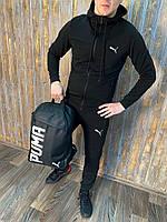 Спортивный костюм мужской Puma (Пума) черный с капюшоном весенний осенний Комплект Кофта + Штаны ТОП качества
