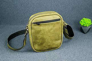 """Чоловіча сумка """"Модель №64"""", Вінтажна шкіра, колір Синій, фото 2"""