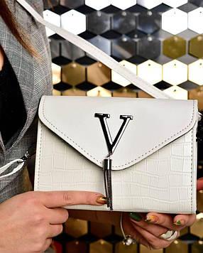 Женская сумка клатч белая код 7-8010