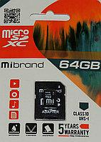 Карта памяти  Mibrand micro SDHC 64Gb (class10) UHS-I U1+SD адаптер (MICDXU1/64GB-A)