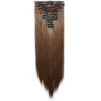 Искусственные волосы на заколках. Цвет #04в Каштановый. Набор прядей
