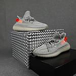 Чоловічі кросівки Adidas Yeezy Boost 350 (сірі з помаранчевим) 10389 рефлективні повсякденні кроси, фото 4