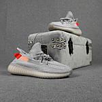 Чоловічі кросівки Adidas Yeezy Boost 350 (сірі з помаранчевим) 10389 рефлективні повсякденні кроси, фото 8