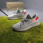 Чоловічі кросівки Adidas Yeezy Boost 350 (сірі з помаранчевим) 10389 рефлективні повсякденні кроси, фото 5
