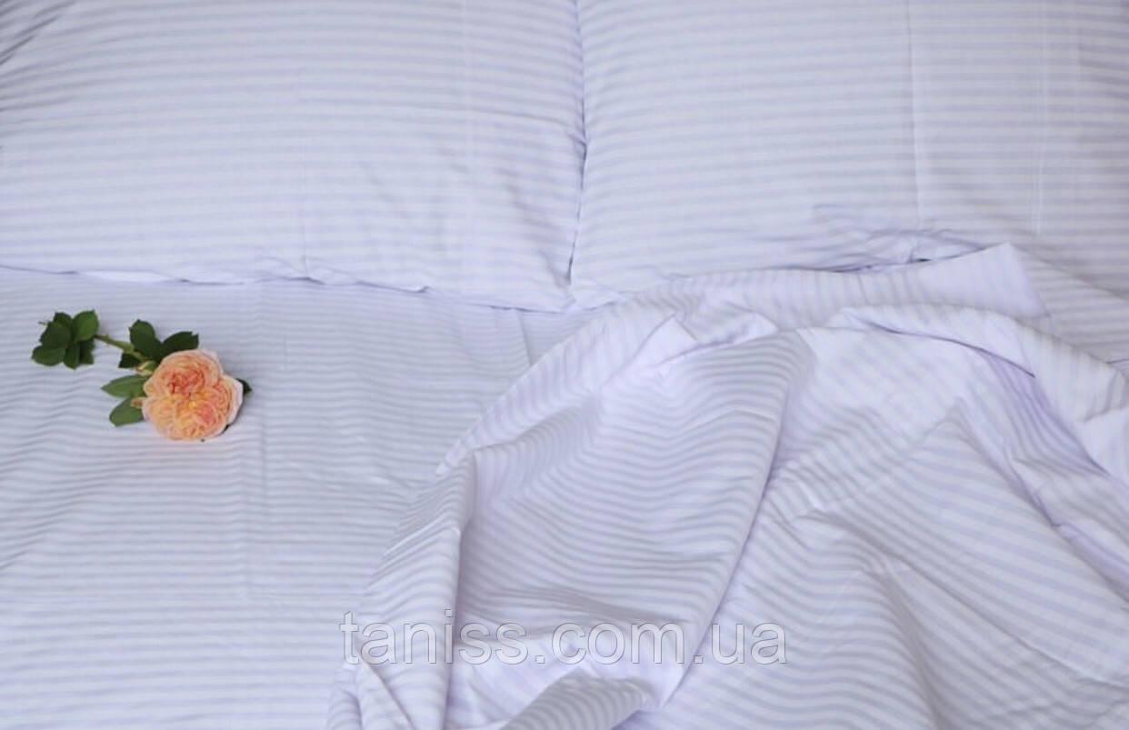 """Евро комплект постельного белья Бязь """"Gold"""", расцветка как на фото, белый в полоску"""
