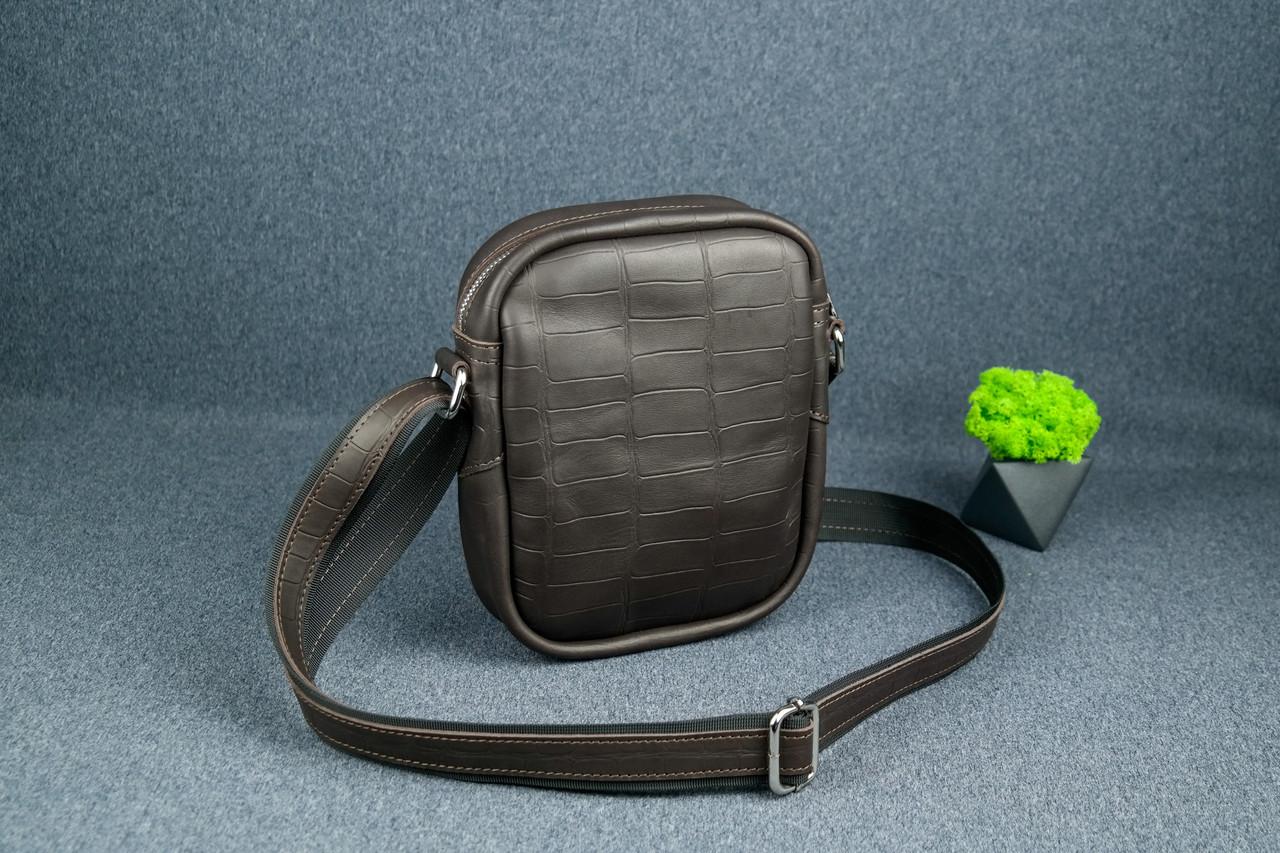 """Чоловіча сумка """"Модель №64"""", Шкіра Італійський краст, колір Кава, тиснення №2"""