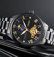 Часы мужские механические наручные на браслете с автоподзаводом скелетоны черные римские цифры Skmei M024