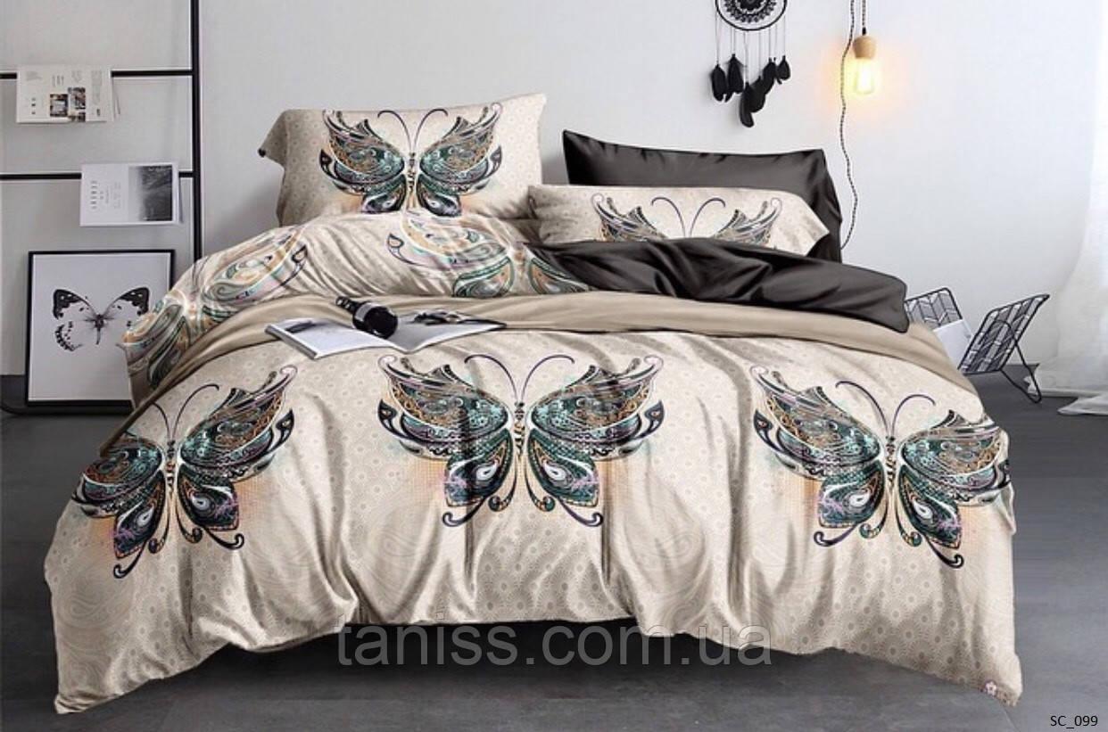 """Евро комплект постельного белья Бязь """"Gold"""", расцветка как на фото, бабочки на бежевом"""