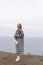 Пальто зимнее или весеннее в клетку oversize с поясом (2 цвета)