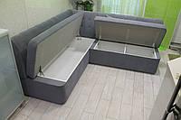 Кухонный угловой диван с двумя вместительными ящиками (Серый)