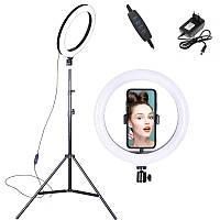 Кільцева світлодіодна LED лампа 36 см з штативом та тримачем для телефону для блогера фотографа візажиста.