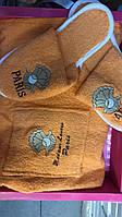 Набор для сауны и бани женский 3 предмета Турция Gulcan на липучке Желтый Ракушка, фото 1